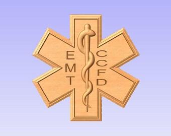 Personalized Fire Dept EMT EMS V Carved Wooden Sign