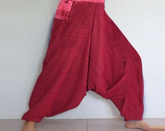 Rough cotton harem pants in a natural. Rustic-Red