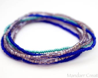 Set of Seven Seed Bead Stretch Bracelets in Purple Blue Teal, Stackable Jewelry for Her, Ready to Ship Summer Beach Accessory
