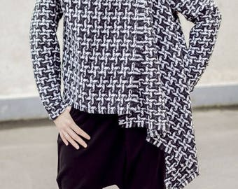 SUN SALE 25% OFF Asymmetrical Wool Plaid Jacket / Plaid Wool Coat Tc36