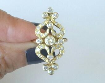 14k art nouveau diamond ring