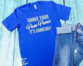 Gameday shirt, Football tank, Football shirt, Cheer shirt, Cheerleading shirt, Pom Pom shirt, School Spirit Shirt, Funny football shirt,