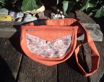 Brick-colored canvas fanny pack,belt bag,hip bag