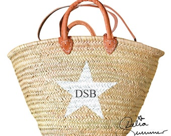 Ibiza Beach Bag Personalized basket with a STAR