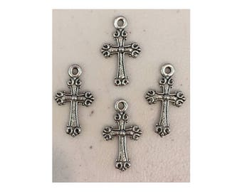 Cross CHARM (4) charms antique pewter - 4 charms per pack cross
