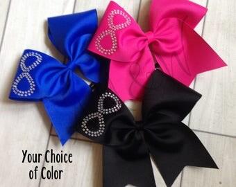 Infinity Rhinestone Practice Cheer Bow - Infinitie Cheer Bow - Infinities Cheer Bow - Black Practice Bow - Pink Practice Bow - Blue Practice