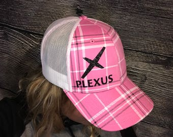 Pink Plaid Plexus Hat
