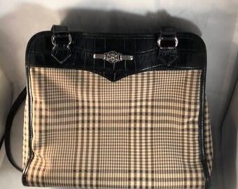 Brighton black croc leather brown houndstooth handbag silver hardware