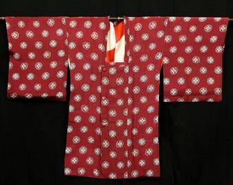 Japanese Kimono / Vintage Silk Kimono Michiyuki / Haori Jacket / Chirimen Crape Kinsha / 092505
