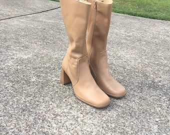 90s does 70s tan gogo mid calf boots penny lane wooden heel