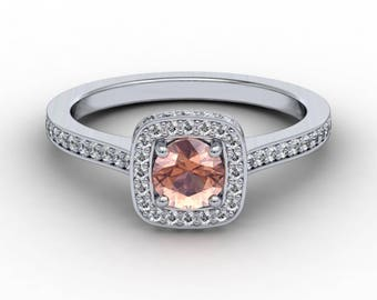 Morganite Engagement Ring .27ct Brilliant Round Diamonds .50ct Round Pink Morganite Center Square Cushion Setting Halo Engagement Ring