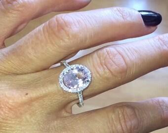 Morganite Engagement Ring 2.0ct Oval Pink &  Natural Diamond Halo Engagement Ring 14k Gold  Pristine Custom Rings