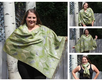 Green, Silver, and Gold Metallic Paisley Pashmina Poncho Shawl