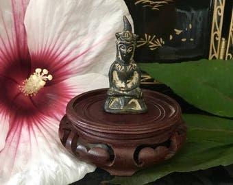 Rare amulet ancient 18th century Pra Chai Ngang Khmer Ayutaya Buddha