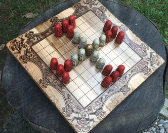 "READY TO SHIP! - Hnefatafl Game: ""Lapland Tablut"" variant, Traditional Strategy Board Game, Viking Tafl, handcrafted w/ cast playing pieces"