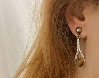 Wishbone Silver and Tiger Eye Earrings