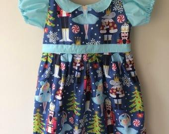 Nutcracker dress, nutcracker print, nutcracker gift, christmas dress, holiday dress, peter pan collar, puff sleeves dress, ballerina dress