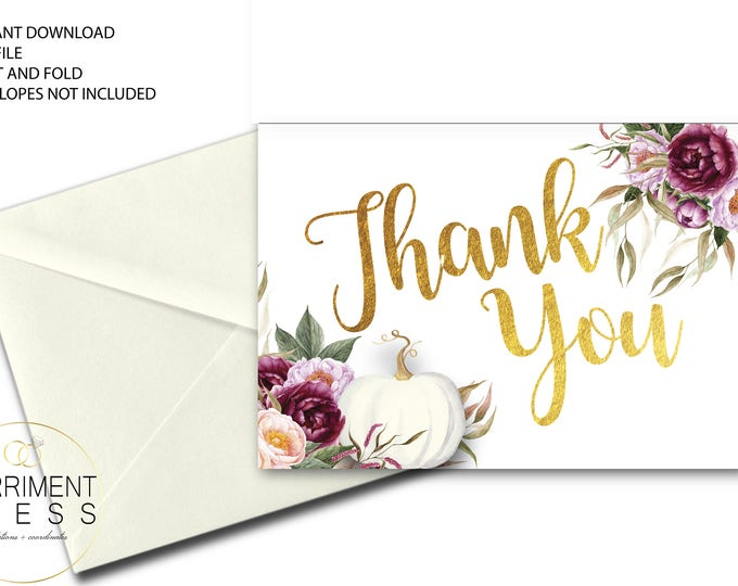 Fall Pumpkin Thank You Card // Burgundy Thank You // White // Folded Thank You // A7 // Gold // Instant Download // CARMEL COLLECTION