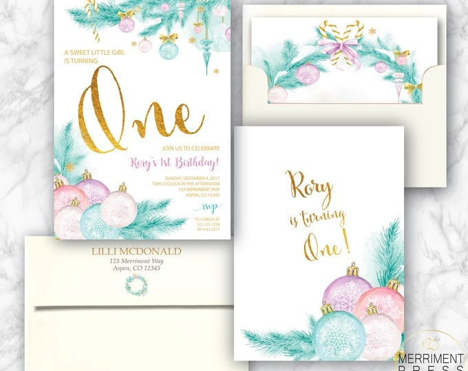 Christmas First Birthday Invitation // Holiday Birthday Party // One // Ornaments // Chirstmas Tree // Winter // Gold // ASPEN COLLECTION