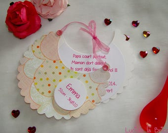 Polka dots and scalloped bib pink girl baptism or birth announcement