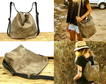 Sale!! Hobo leather crossbody backpack, Convirtable hobo leather bag, leather backpack, Distressed bag, Size details below in text