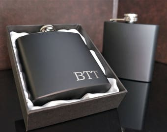Personalized Flask, Groomsmen Gift, Groomsman Flask, Bridal Party Gifts, Stainless Steel Flask, Hip Flask, Matte Black Flask, 6 oz. Flask