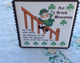 Saint Patrick's Day Trivet Irish Blessings