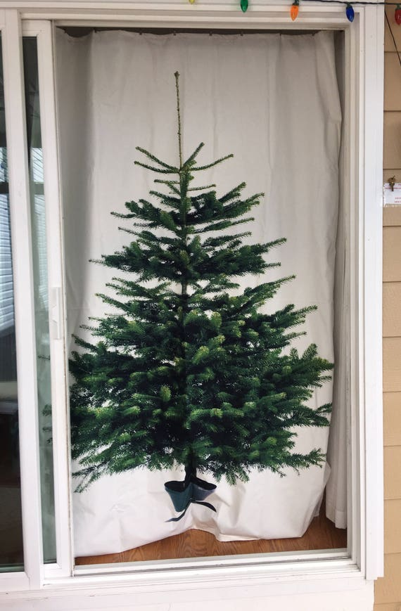 Christmas Tree Curtain Or Decoration Panel Fabric Portion