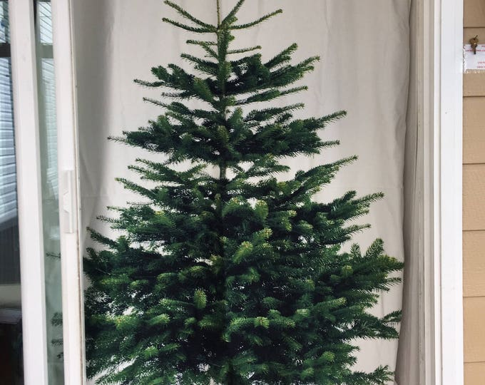 "Christmas tree curtain or decoration panel / fabric portion 56"" x 84"" buy two for patio doorway only 4 left fabric no longer available!!"