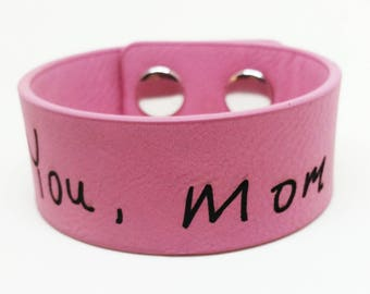 Pink Leather Cuff Bracelet Personalised with Handwritten Name(s)