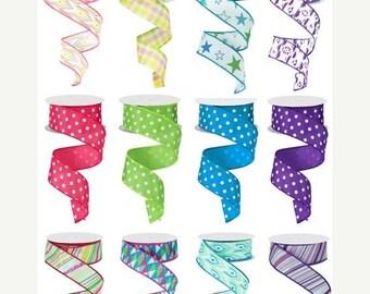 "Sale 12 rolls 1.5"" x 10yd summer ribbon, spring ribbon, polka dot wired ribbon, polka dots ribbon, wired ribbon assortment FREE SHIPPING!"
