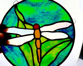 "Stained Glass; Round Suncatcher; Approx. 8"" Round; Dragonfly; Fine Workmanship !!!"