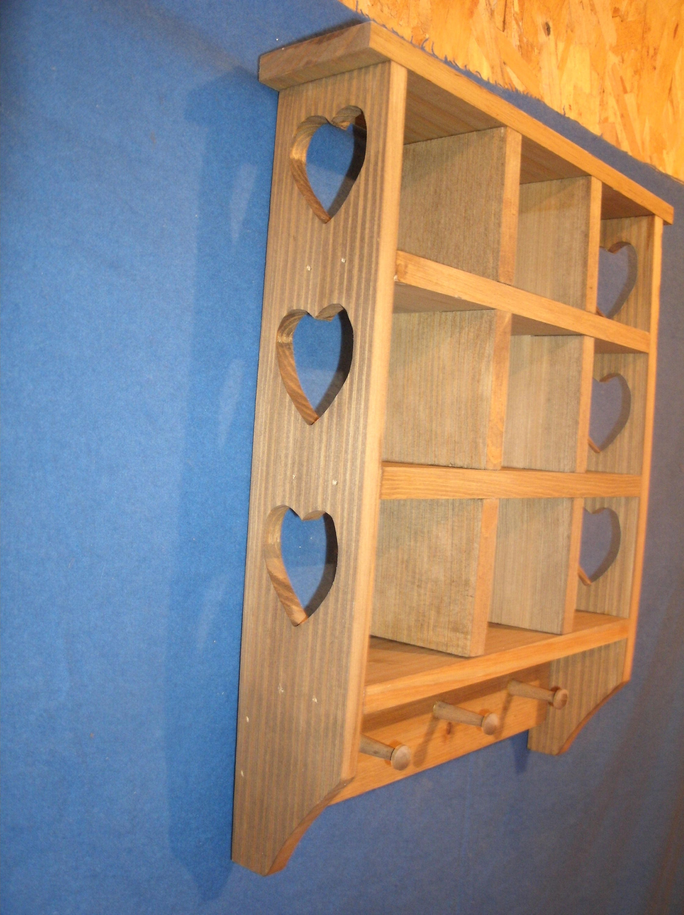 Rustic Country Wooden Trinket Shelf With Heart Natural Walnut