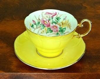 Paragon China Yellow Tea Cup and Saucer Pink Morning Glories