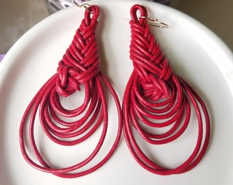 Red Leather Herringbone Earrings. Red Leather earrings.  Leather earrings.  Weaved earrings
