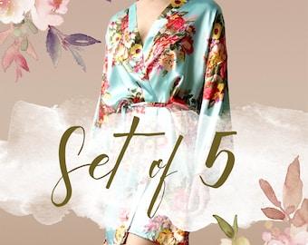 Robes for Bridesmaids Set of 5, bridesmaid gift, set of 5 bridal robes