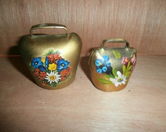 Vintage brass hand painted bells set 2 Switzerland with clappers smaller sizes