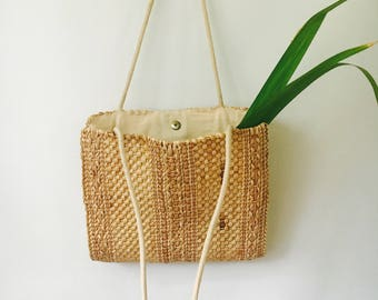 Vintage Woven Market Bag / Medium Woven Bag / Market Boho Chic Bag