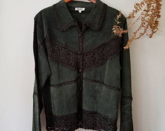 Vintage Leather Patched Crochet Jacket