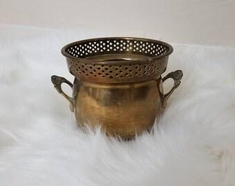 Vintage Brass Boho Planter