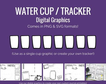 Digital Graphics -  Water Cup / Water Consumption Tracker graphic (png and svg) Bullet Journal Digital Stickers