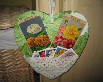 Wooden Heart Decorated with Vintage Wallpaper, Seed Labels and Lace
