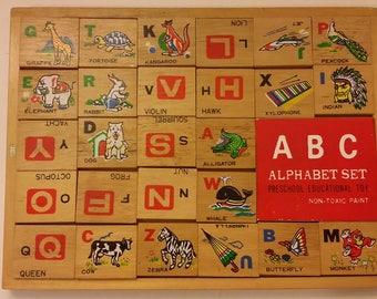 Vintage Preschool Alphabet Block Toy, 1970's