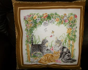 """Cushion, complete pattern """"cats"""", birds"""
