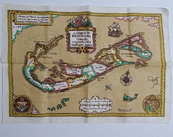 Map of Bermuda Islands Tea Towel Wall Hanging Souvenir Pure Irish Linen