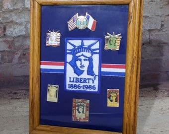 Framed Statue Of Liberty Centennial Pin Patch Set Six Commemorative Tack Pins 1886-1986