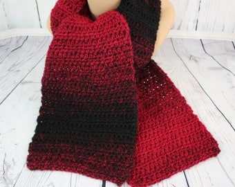 Simply a Scarf... Variegated Colors Crocheted Scarf, Red and Black