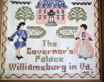 """1966 Sampler of """"The Governor's Palace, Williamsburg in Virginia"""" Hand Embroidered"""