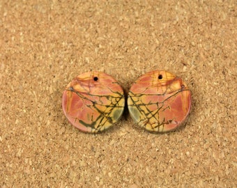 Red Creek Jasper Matched Pair - Yellow Red and Orange Smooth Circle Front Drilled Matched Pair
