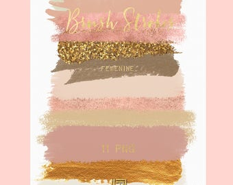 Brush Strokes Clip Art. Femenine. Warm pink creamy pink, sage green, glitter, pink gold, nude palette. Watercolor clipart. Digital Resource